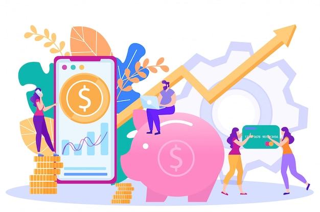 Интернет-банкинг, интернет-платежей услуги вектор Premium векторы