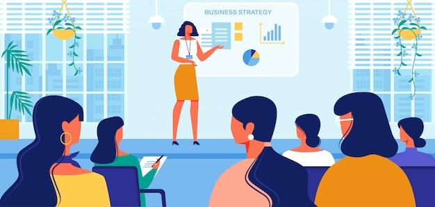 女性のためのビジネス戦略コースプレゼンテーション。 Premiumベクター