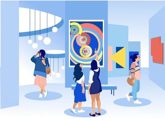 Посетители выставки осматривают картины в галерее. Premium векторы