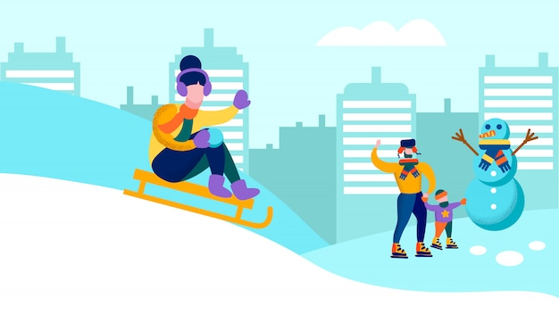 冬のバナーを一緒に楽しんで幸せな家族 Premiumベクター