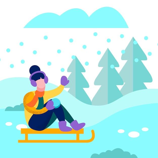 冬の森フラットカードでそり幸せな女 Premiumベクター