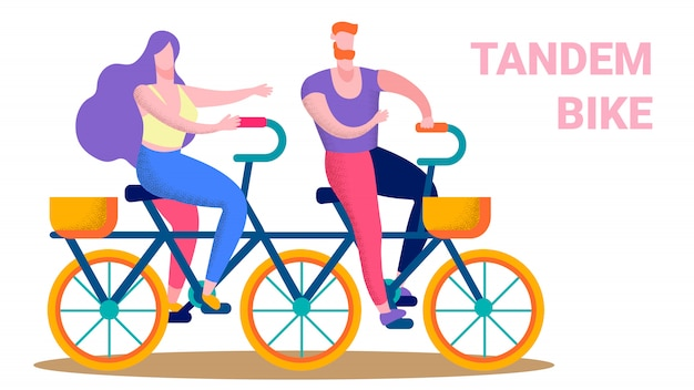 幸せなカップル乗馬タンデムバイクフラットテキストバナー Premiumベクター
