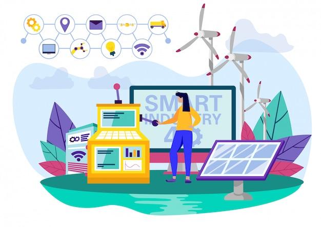 太陽電池パネルの近くの女性作業産業用コンソール。 Premiumベクター