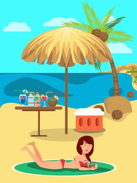 傘とドリンクのカクテルで日光浴の女の子。 Premiumベクター