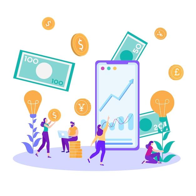 Финансовые аналитики инвестиционная онлайн карта метафора Premium векторы