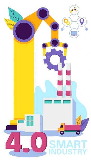 Кран работает в производстве. смарт индустрия.вектор Premium векторы