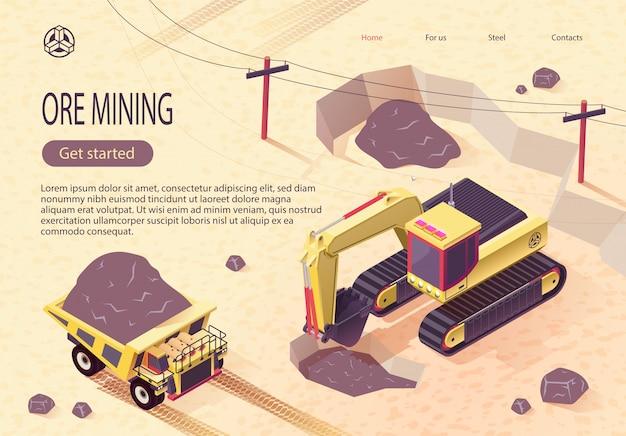 採掘機械による鉱石採掘のためのバナー Premiumベクター