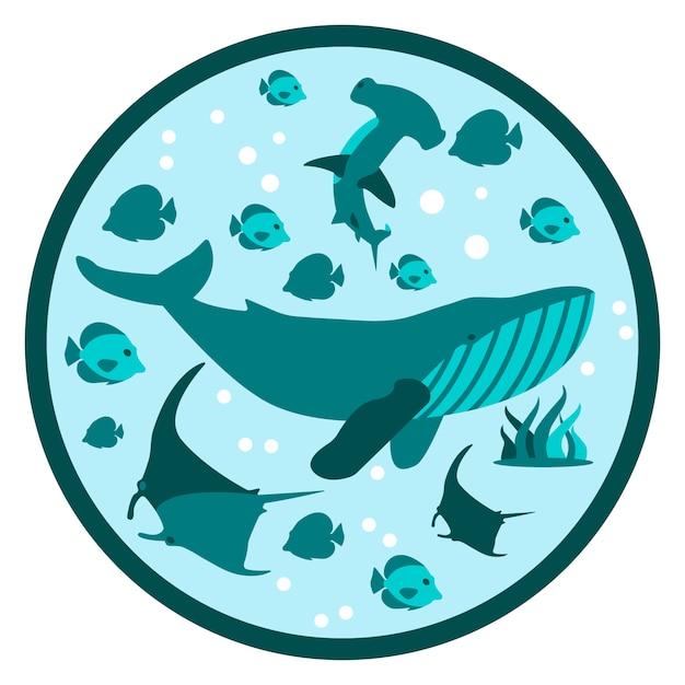 水中生活フラットラウンドイラストディープスタイル Premiumベクター