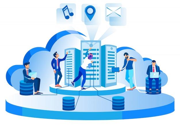 現代のネットワークデータセンターホスティングサーバーの図 Premiumベクター