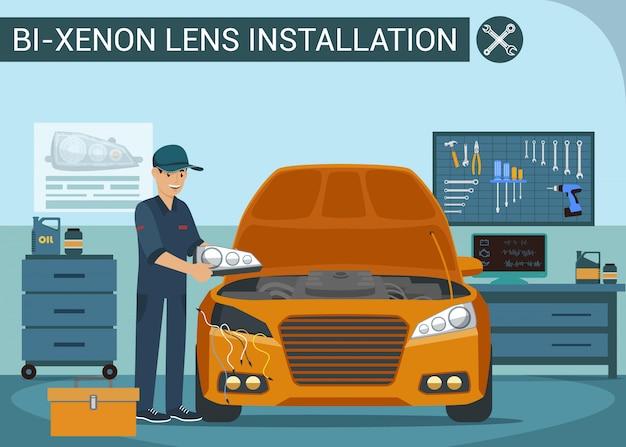労働者は自動車サービスのヘッドライトを変える車両のヘッドランプを交換する。カーサービス Premiumベクター