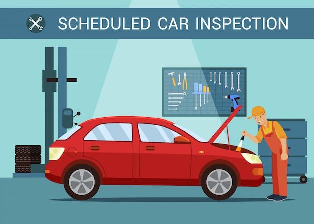 定期検査自動車サービスの整備士。サービスステーション。フードを開けなさい。モーター修理 Premiumベクター