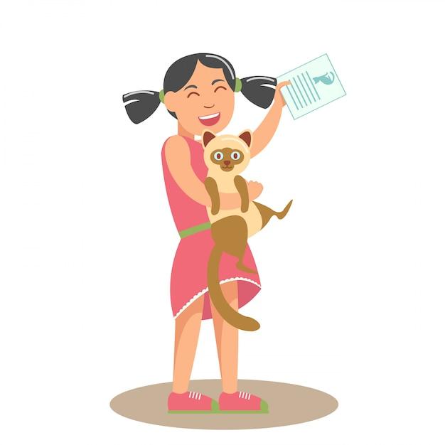 猫フラットベクトル図を持つ少女 Premiumベクター