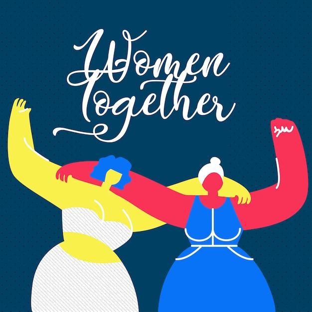 Женщины вместе с плоским веб-баннер шаблон Premium векторы
