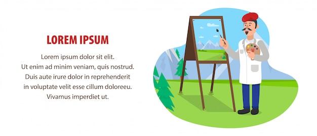 アーティストは、屋外で絵を描きます。 Premiumベクター