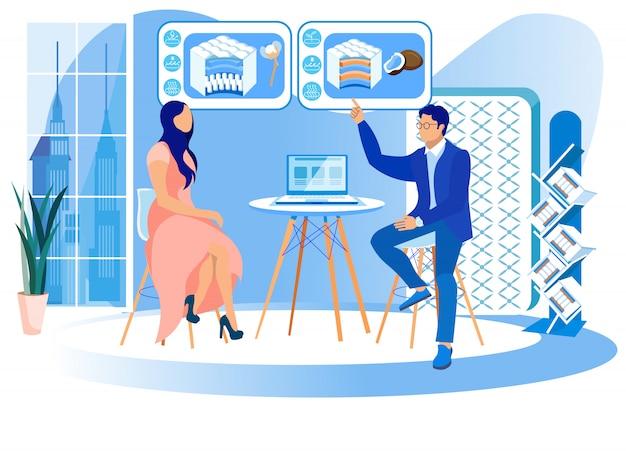 Мужчина и женщина изучают матрасные технологии. Premium векторы