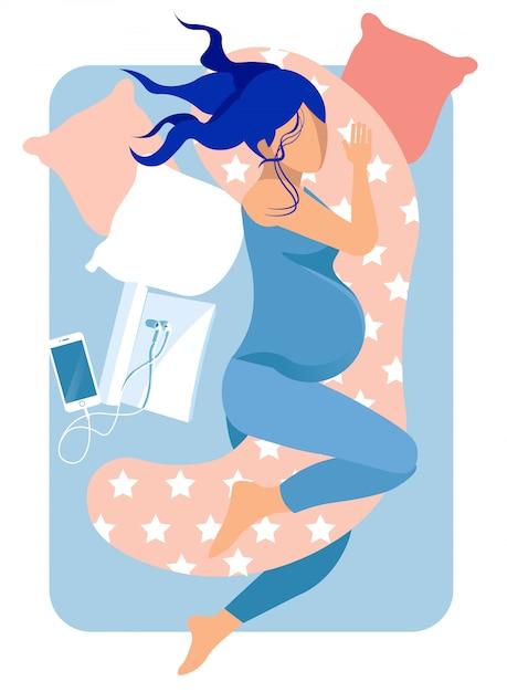Беременная женщина на матрас для беременных. Premium векторы