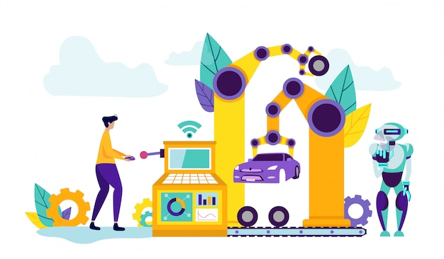 自動車工場における人間制御技術 Premiumベクター