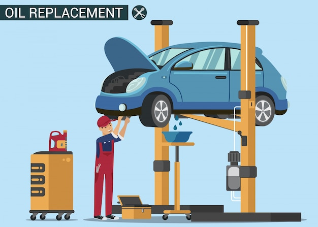 男労働者は車の中でオイルを交換します。 Premiumベクター