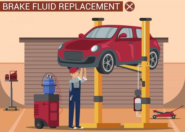 車の修理工は赤い車を持ち上げて修理します。カーサービス Premiumベクター
