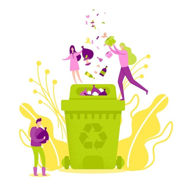 緑のごみ箱にゴミを捨てる Premiumベクター