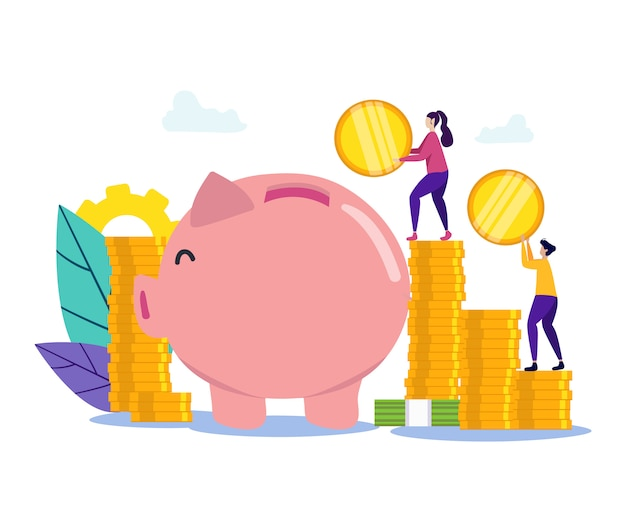 男と女の貯金箱の近くの手でコインを Premiumベクター