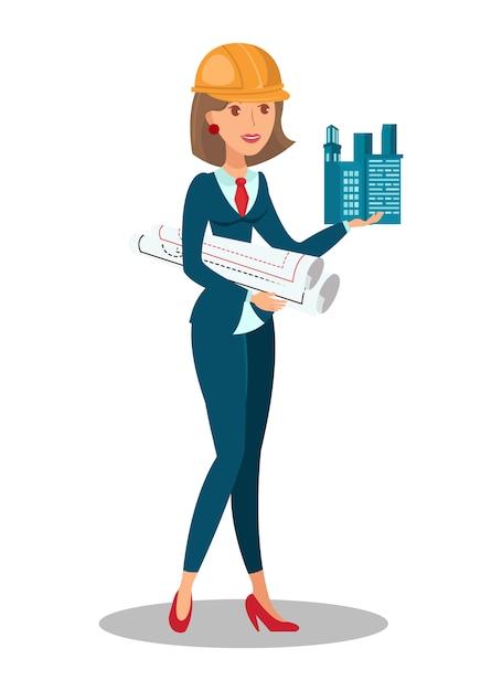 下書きを持つ女性建築家 Premiumベクター