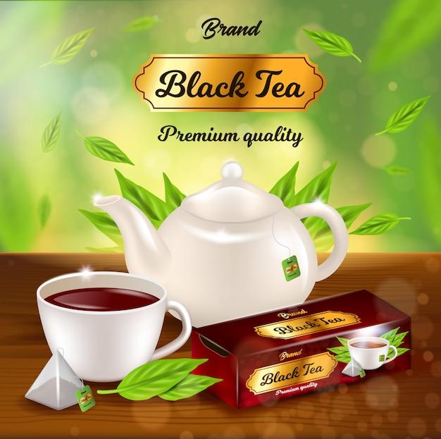 紅茶プロモーションバナー、鍋、飲料入りカップ Premiumベクター