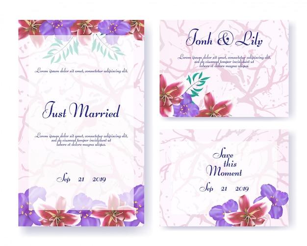 花のスタイルで結婚式の招待状フレームセット Premiumベクター