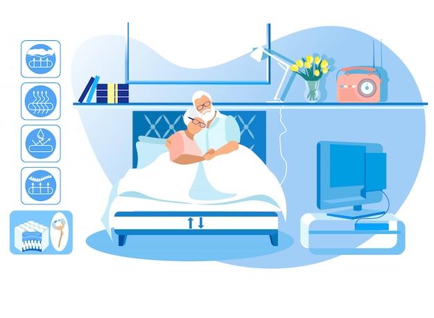Зрелые мужчина и женщина лежат в постели у себя дома. вектор. Premium векторы