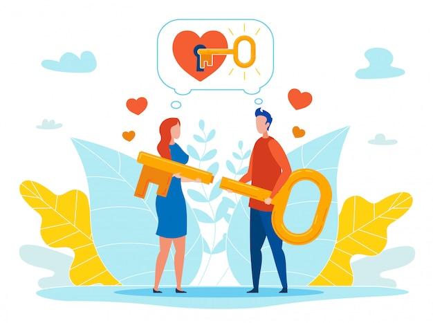Найти ключ к концепции вектора сердца любимого человека Premium векторы