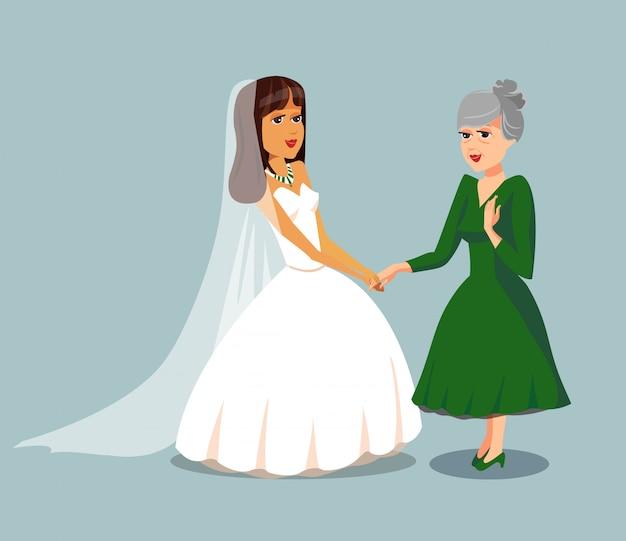 Невеста с пожилой матерью векторный элемент дизайна. Premium векторы