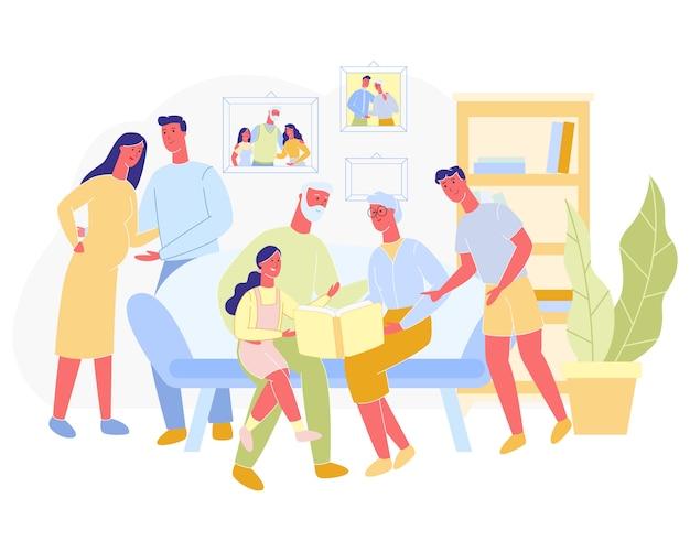 Плакат большая семья проводит время вместе мультфильм. Premium векторы