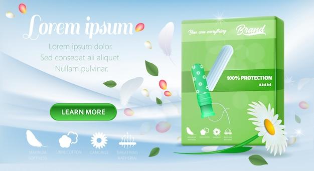 女性用カモミールタンポンを表示しているランディングページ Premiumベクター