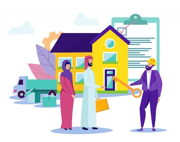 アラブ家族は新しい家に移動します。クレジットプロジェクト Premiumベクター