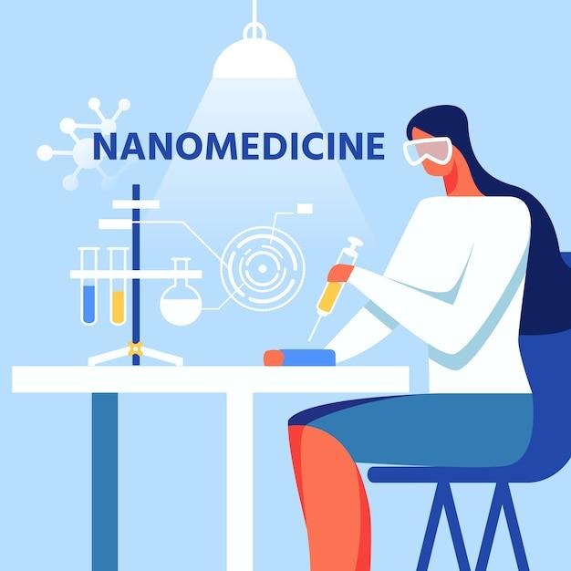 ナノ医療女性作業図 Premiumベクター