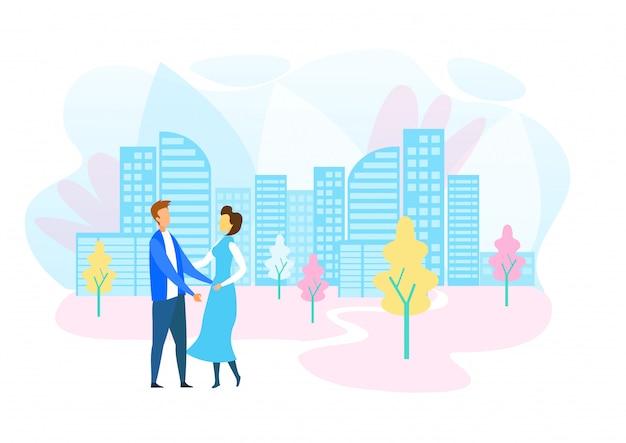 Мужчина и женщина гуляют в современном экологически чистом городе Premium векторы