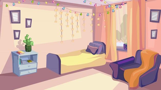 子供の寝室のインテリア子供部屋モダンデザイン Premiumベクター