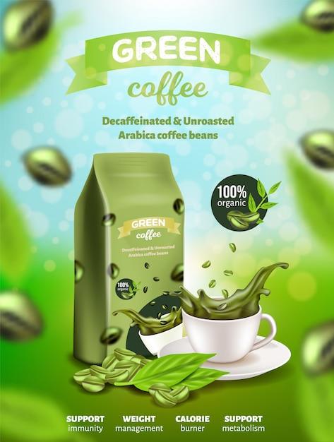 Зелёная арабика кофейный плакат, бобы без кофеина Premium векторы