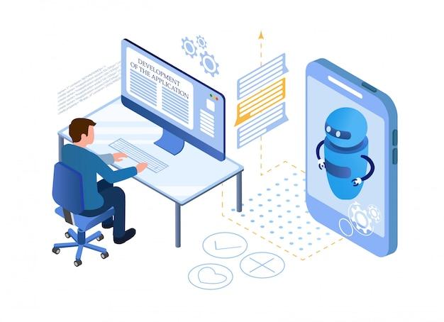 人工知能。チャットボットとマーケティング Premiumベクター