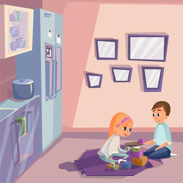 台所の部屋で木製のキューブを遊ぶ漫画の子供たち Premiumベクター