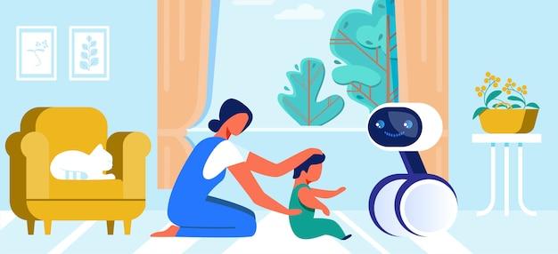 漫画母とロボットで遊ぶ小さな赤ちゃん Premiumベクター