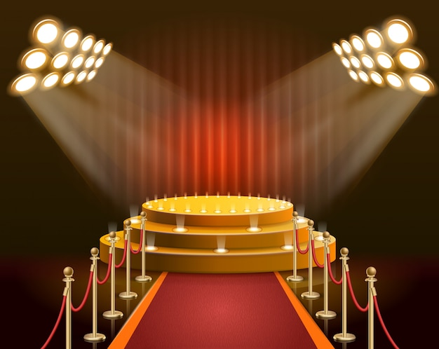 Баннерная сцена для звезд и знаменитостей Premium векторы