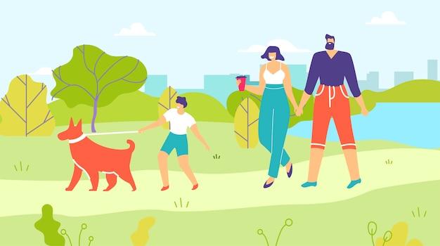 両親と息子のシティパーク漫画で犬を散歩 Premiumベクター
