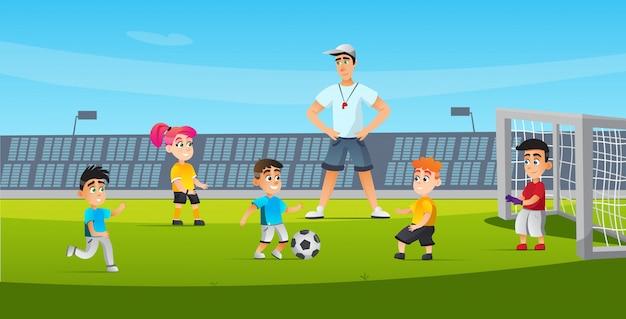 子供のためのスポーツサッカートレーニング漫画フラット。 Premiumベクター