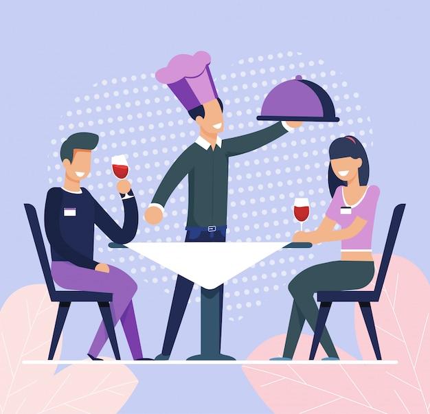 Официант принес заказ еды мужчине и женщине на свидание Premium векторы