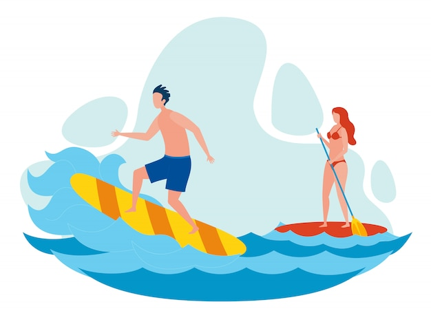 Женщина и мужчина, серфинг плоский векторная иллюстрация Premium векторы