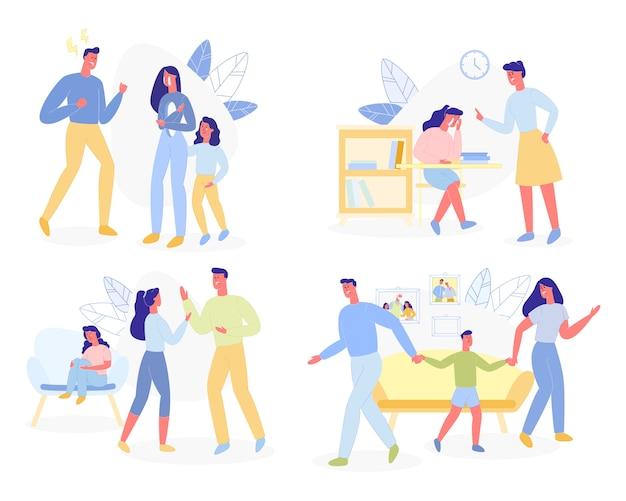 家庭内暴力、積極的な親、子供同士の対立 Premiumベクター