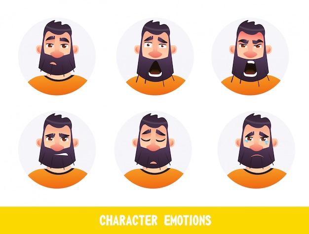 Плакат надпись характер эмоции мультфильм плоский Premium векторы