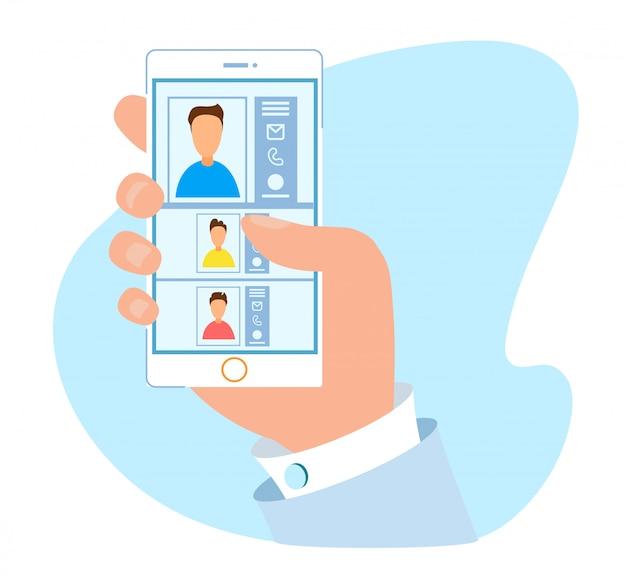 モバイル用の快適な連絡帳アプリケーション Premiumベクター