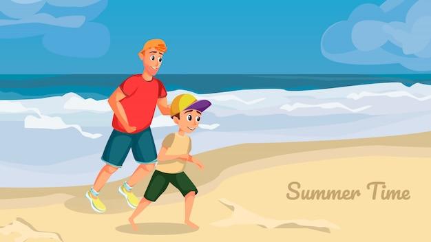 サマータイムバナー。漫画男の少年がビーチで遊ぶ Premiumベクター